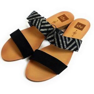 DV Slip On Strap Sandal Black Aztec Pattern New